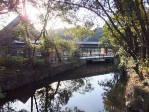 表参道の火除橋から望むせんぐう館、休憩舎(外宮)