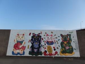 海の駅 神社付近の堤防壁画