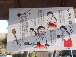 手水の使い方の説明板(江島若宮八幡神社)