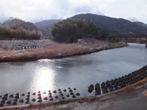雪の五十鈴川左岸から望む対岸方向