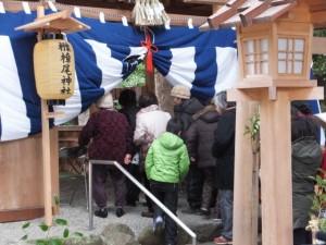 楠部町萬歳楽 祭典終了後の参拝者(櫲樟尾神社)