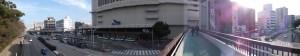神宮前歩道橋より望む名鉄 神宮前駅