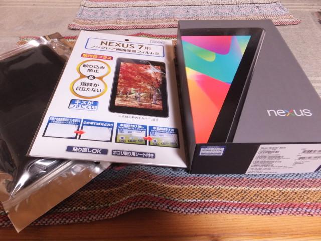 Nexus7(2012)と保護フィルム、ケース