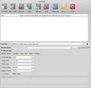 動画変換ソフトCurlewの画面