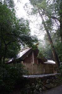 風宮(昨夜の雪が残る外宮)