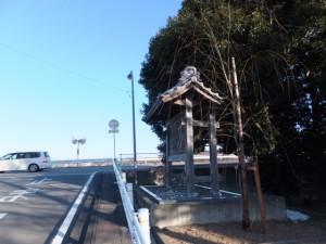 柳の渡しの説明板(宮川左岸、尾崎咢堂記念館前)