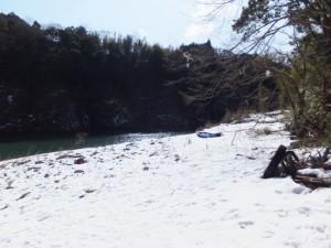大雪の後の三瀬の渡し付近