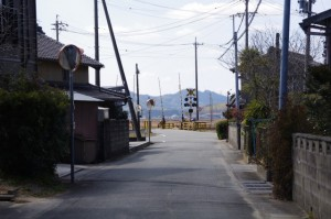 棒原神社付近のカーブミラー