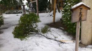 伊勢での大雪、箕曲神社(徒歩での早めの退勤時)
