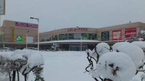 伊勢での大雪、イオンタウン伊勢ララパーク(徒歩での早めの退勤時)