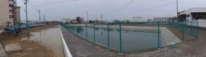 改修された勢京ビジネス専門学校付近の池(伊勢市一之木)
