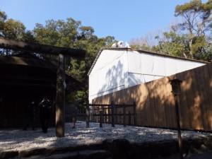 新御敷地に建てられている簀屋根(倭姫宮)