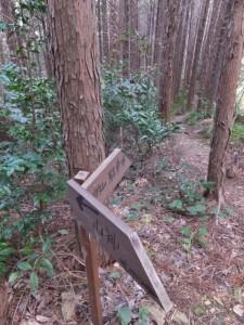 「←山神、鴨神社→」「的山駐車場→」の道標(鴨神社の参道)