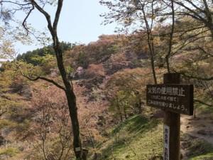 「水分神社 歩20分」の案内板〜横川覚範の首塚