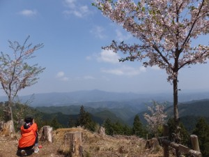 修行門(金峯神社の鳥居)から金峯神社へ参道の途中からの眺望
