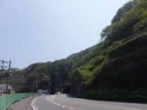 二見興玉神社への丁字路付近から望む新旧二見隧道方向(国道42号)