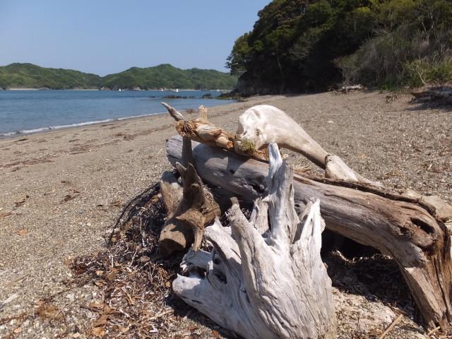 粟皇子神社付近の浜辺