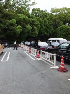 饗土橋姫神社の前にあるタクシーの待機場所