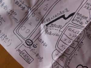 「水銀のたぬき掘り古道」と「立梅用水 素掘のトンネル」の地図