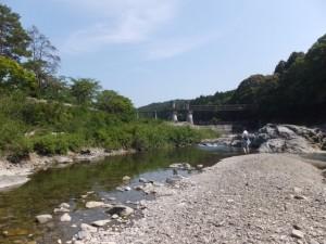 大滝峡 大台町青少年旅行村付近の大内山川、滝原ダムの下流側