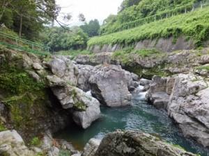 大滝峡にあるおんべまつりの祭場(大紀町滝原)