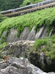 水戸神神社のおんべまつり 鮎占い神事とJR紀勢本線(大滝峡)