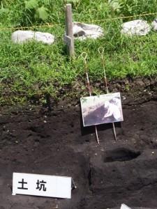 野添大辻遺跡(第3次)調査区、1区の泥搭が発見された柱穴跡付近