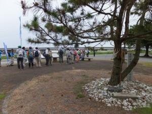 「磯の渡 由来」説明板と浅間神社高向冨士講遥拝所
