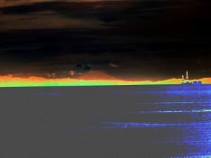 大湊海岸から望む富士山(画像処理)