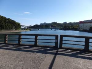 安楽島橋から望む加茂川の下流側、安楽島大橋・・