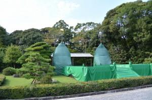 秋季神楽祭のため神苑に特設された舞台(内宮)