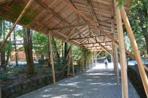 遷御の儀に向けて完成した雨儀廊(月讀宮)