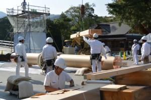 宇治橋 西詰鳥居の建て替え作業