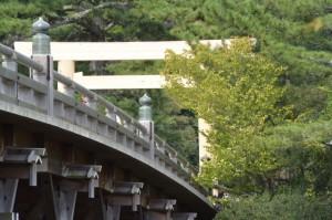 東詰付近から望む宇治橋と西詰の鳥居
