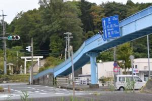 中村歩道橋(国道23号 中村町北交差点)と上田神社の社叢