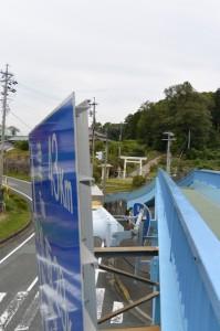 中村歩道橋(国道23号 中村町北交差点)から望む上田神社の社叢