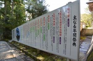 主な年間祭典の掲示(熊野本宮大社)