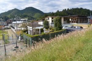 熊野川の堤防道路から眺める産田社