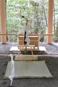 所管社の遷宮諸祭儀のために辛櫃等が準備された修祓所(瀧原宮)