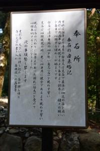 奉石所の説明板(頭之宮四方神社)