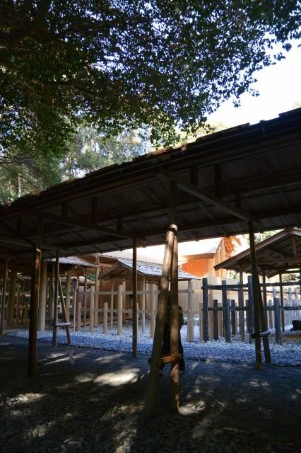 遷御の儀に向けて設営された雨儀廊(伊雜宮)