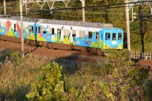 志摩市磯部ふれあい公園から眺めた近鉄観光列車「つどい」