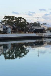 勢田川右岸 橘神社付近から望む川の駅 二軒茶屋方向