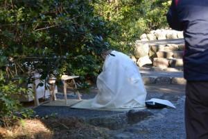 元始祭の準備(鏡宮神社、皇大神宮末社)