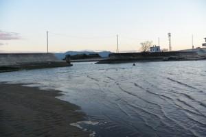 大湊川と宮川の合流点、御祓橋跡付近