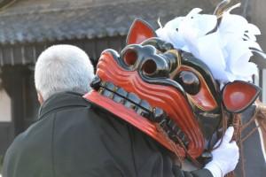 上社の御頭神事、御頭の巡行(小川町公民館)