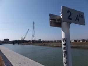 勢田川右岸、2.4kmポスト付近