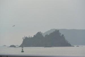 雨宿りの車中から望む神前湾の弁天島