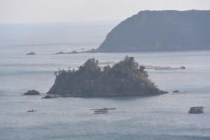 金網山西方寺(奈津観音)裏山の散策路から望む神前湾の弁天島