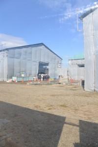 斎宮復元建築工事現場の工事用フェンスから望んだ見学会の様子(明和町斎宮)